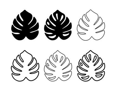 Monstera Leaf Black Silhouette Vector Icon Drawing.Tropical exotic outline isolated stencil leaves set.Posters,Cards,Photo,Overlay, Print,Vinyl wall sticker decal.Plotter laser cutting cut.Decoration.