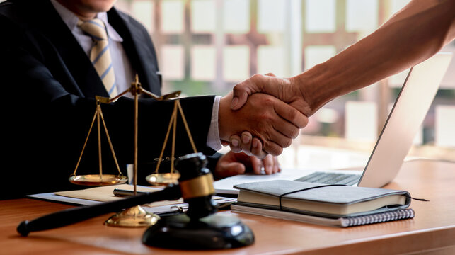 The Lawyer is currently shaking hands with the client about the success in resolving the case.