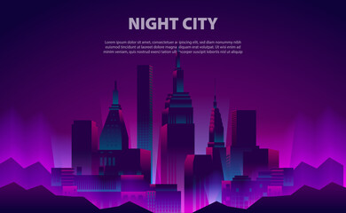 Illustration glow neon color night city skyscraper building with the electric light