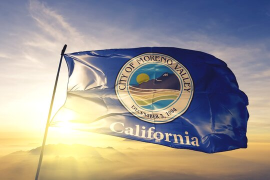 Moreno Valley of California of United States flag waving on the top