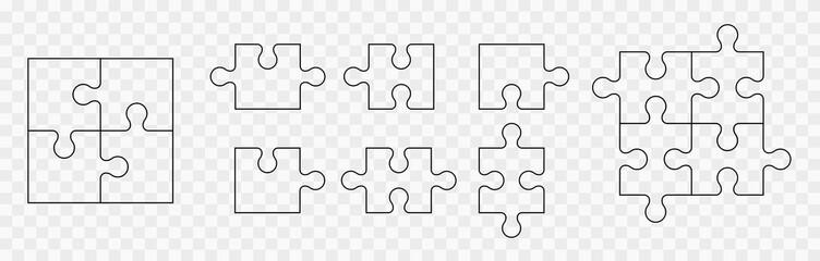 Fototapeta Various sizes puzzle set. Puzzle pieces vector set. Separate the ability to change obraz