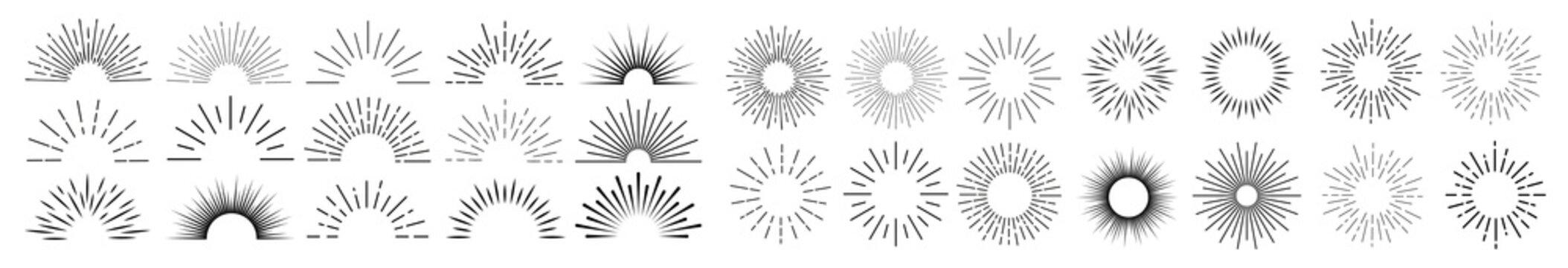 Sun rays hand drawn, linear drawing. Mega set