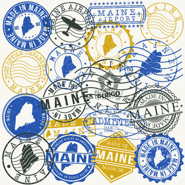 Maine, USA Set of Stamps. Travel Passport Stamps. Made In Product. Design Seals in Old Style Insignia. Icon Clip Art Vector Collection.
