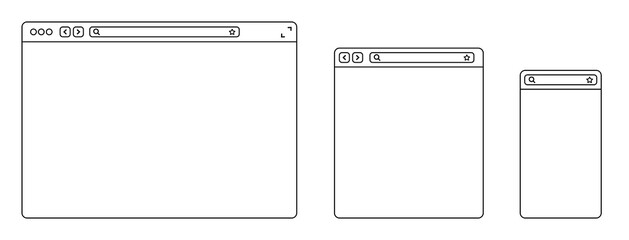 Line browser mockups different devices web window mobile, laptop and tablet screen in internet. Outline browser window. Web browser template. Flat style vector illustration.
