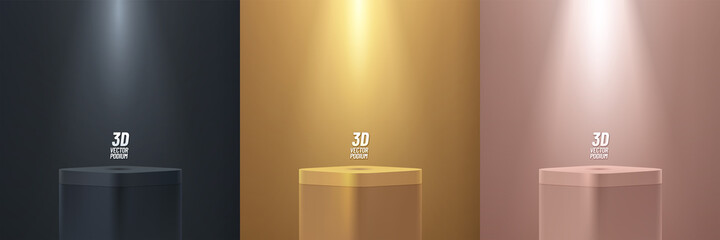Obraz Set of gold, black, pink gold round corner cube pedestal podium display on empty room background. Abstract luxury vector rendering 3d shape for products presentation. Minimal wall scene, Studio room. - fototapety do salonu