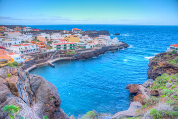 Tamaduste village situated on shore of El Hierro island at Canary islands, Spain
