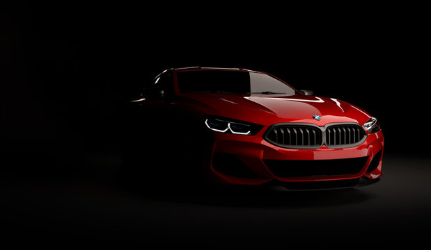 Kazakhstan, Almaty - January 20, 2020: All-new BMW 8 Series Coupe on dark background. 3d render
