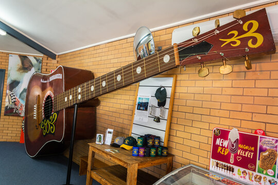 Narrandera, New South Wales, Australia - March 11, 2017. The Big Playable Guitar on display at Narrandera Visitor Information Centre. The guitar was built in 1988 by Robert Palmer