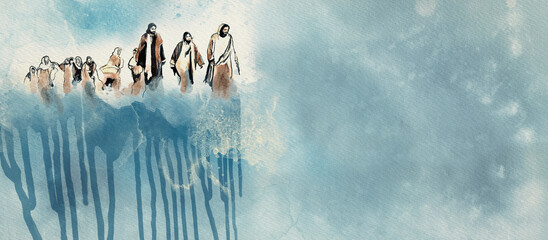 Obraz Jesus and the disciples. Christian watercolor background - fototapety do salonu