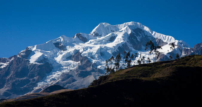 Mt. Illampu (6,368 m/20,887 ft) in the northern group of the Cordillera Real, Bolivia as seen during winter.