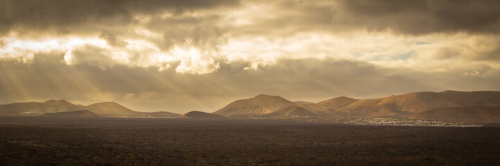 Mountains in the sunlight during the morning light, Lanzarote, Canary Islands, Spain