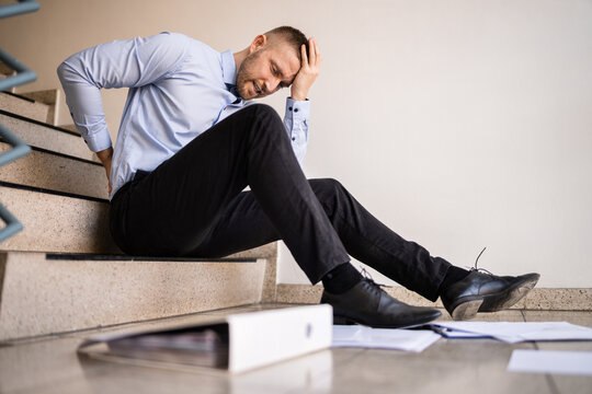 Fall And Fall Injury Accident At Workplace