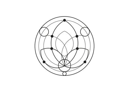 Seed of life lotus symbol Sacred Geometry. Logo icon  Geometric mystic mandala of alchemy esoteric Flower of Life. Vector black tattoo divine meditative amulet isolated on white background