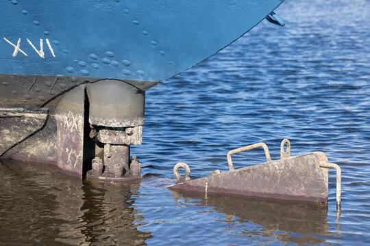 Detail steel ship rudder which needs maintenance