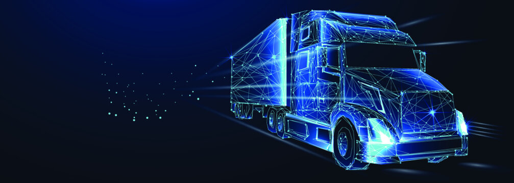 Tractor truck. Abstract vector 3d heavy lorry van. Highway road. Isolated on  dark blue background. Transportation, logistics or international shipping concept. Digital polygonal low poly 3d mesh illu