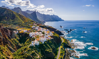 Wall Mural - Landscape with coastal village at Tenerife, Canary Islands, Spain