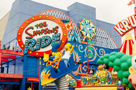 Los Angeles, Hollywood, USA - July 2019 Simpsons ride in the Universal Studios park