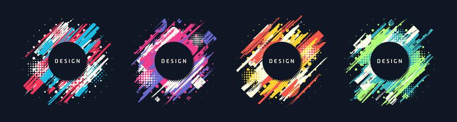 Paint brush promotion template designs, colorful geometric sale banners. Vector set