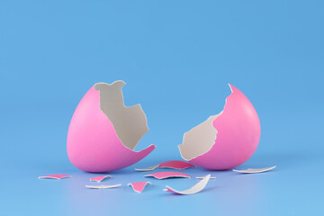 Obraz Pink Easter egg cracked open and broken into pieces. - fototapety do salonu
