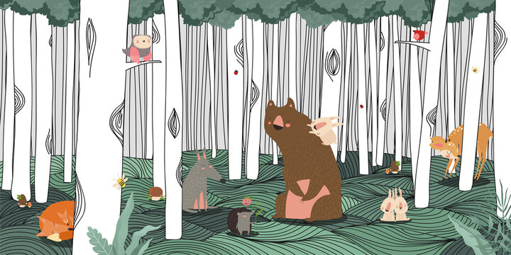 Hand-drawn trees and forest animals