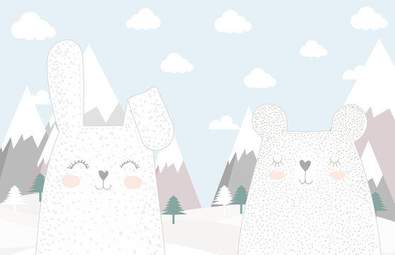 Children's wallpaper. Hare and bear on the background of mountains.