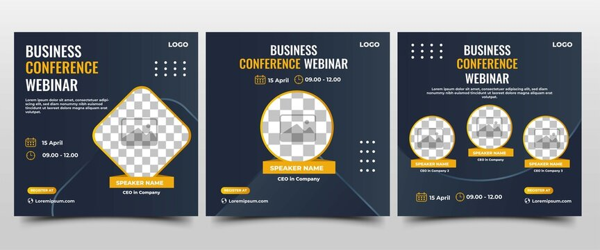 Collection of Webinar social media post. Modern banner with dark blue background and yellow accents. Suitable for business webinar, conference announcements, and online seminar. Vector design isolated