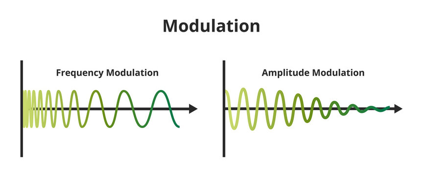 Vector scheme of frequency modulation FM and amplitude modulation AM isolated on white background. Carrier signal or carrier waveform is a constant amplitude or frequency. Analog or digital signal.