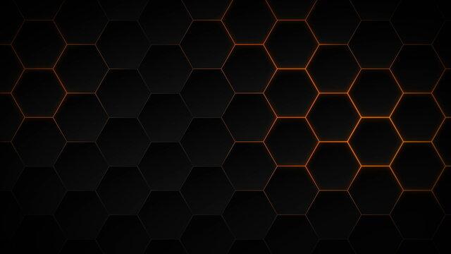 Abstract dark hexagon pattern on orange neon background technology style. Modern futuristic honeycomb concept.