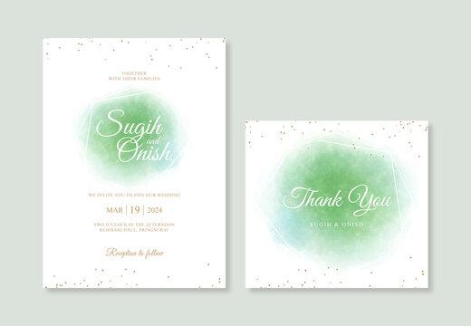 Minimalist wedding inviation template with watercolor splash background