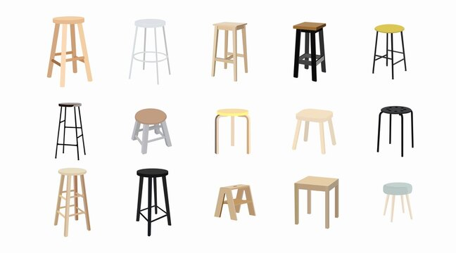 Vector isolated different Stools Set on a white background. Furniture set