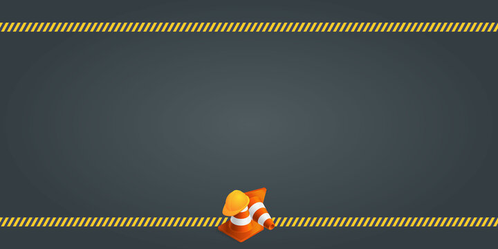 Vector background with orange plastic traffic cones, construction helmet, safety tape and copyspace. Under construction template on dark gray background. Vector illustration.