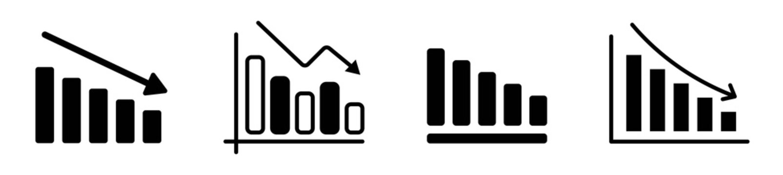 Set of loss modern icons, graph chart down icons, down arrow symbol in line style