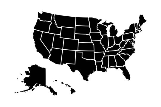 United States of America map with states isolated on a white background.