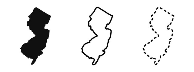 New Jersey state isolated on a white background, USA map