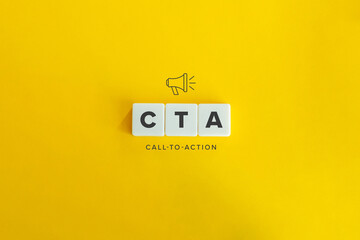 CTA (Call to Action) banner and concept. Block letters on bright orange background. Minimal...