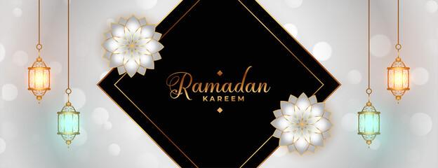 Fototapeta ramadan kareem or eid mubarak festival decorative banner design obraz
