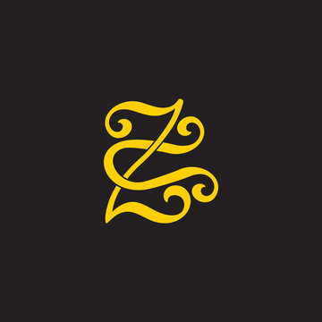 letter zu simple flat overlapping link logo vector