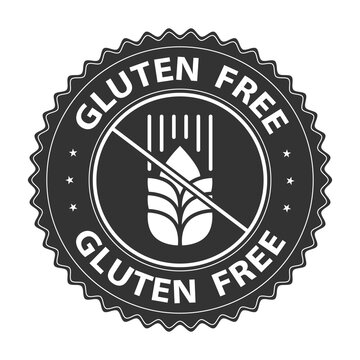 Gluten free badge, logo, icon. Vector illustration isolated on white background. Food label or sticker flat design. Healthy food concept. No wheat symbol for food packaging or dietetic product sign.