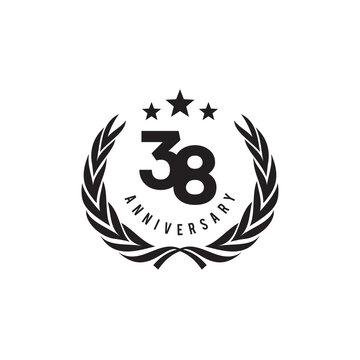 38th year anniversary logo design template