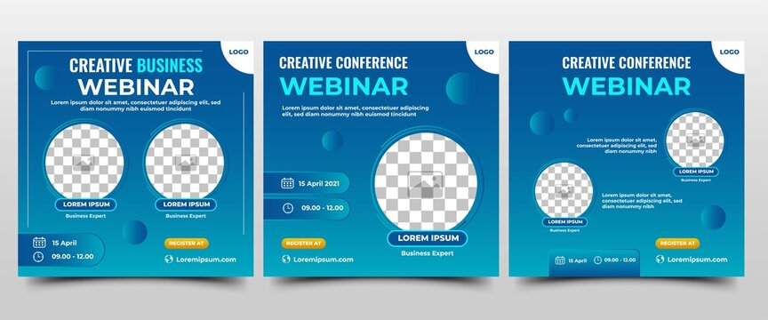 Collection of Webinar social media post. Modern banner with gradient blue background. Suitable for a business webinar, conference announcements, and online seminar. Vector design isolated.