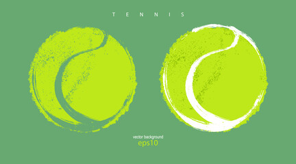 Fototapeta Collection of abstract tennis balls. Illustrations for design banners, posters, print for T-shirts. obraz