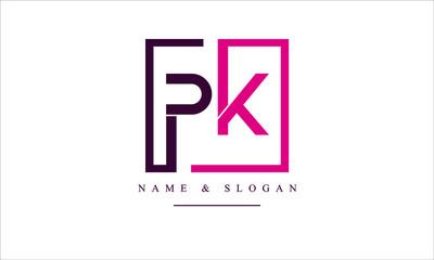 Obraz PK, KP, P, K abstract letters logo monogram - fototapety do salonu