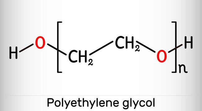 Polyethylene glycol, PEG, polyethylene oxide, PEO, polyoxyethylene, POE molecule. It is versatile polyether, E1521. Structural chemical formula and molecule model