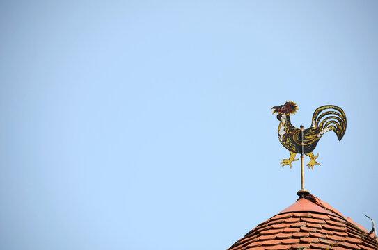 Ein Wetterhahn auf einem Dach in Freistadt, Österreich, Europa - A weathercock on a roof in Freistadt, Austria, Europe