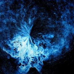 抽象的な青い煙の渦