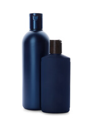Wall Mural - Bottles with personal hygiene products on white background