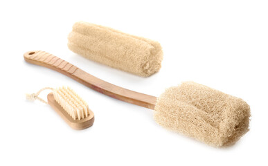 Wall Mural - Natural shower loofah sponges and brush isolated on white
