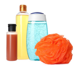 Wall Mural - Personal hygiene products and shower puff on white background