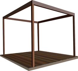 Obraz Drewniana szescienna konstrukcja z tarasem - fototapety do salonu