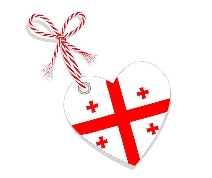 """Fahne als Herz  """"I Love Georgia (Georgian)"""" mit Kordel-Schleife, Vektor Illustration isoliert auf weißem Hintergrund"""